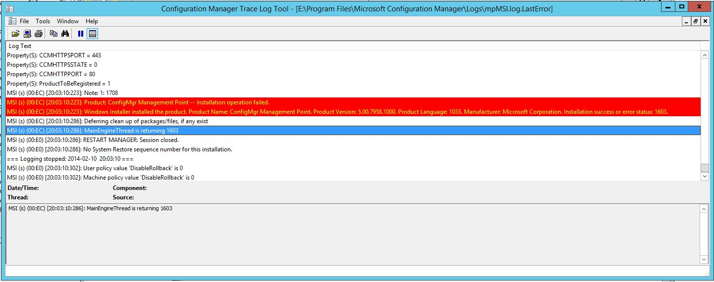 sccm 2012 management point error 1603