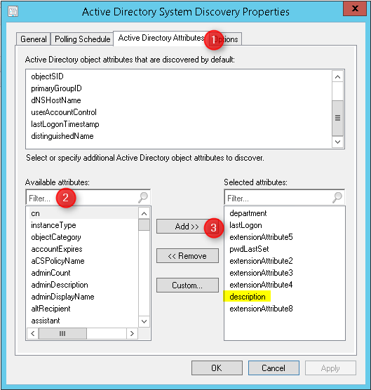 How to add SCCM 2012 Custom Active Directory Attributes