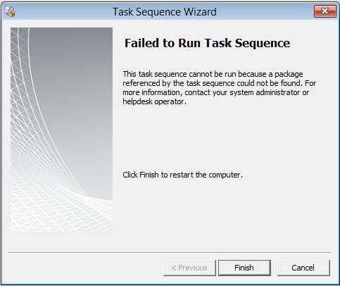Failed to resolve selected task sequence dependencies 0x80040104