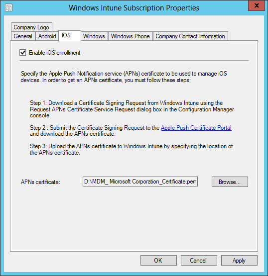 SCCM ios device enrollment