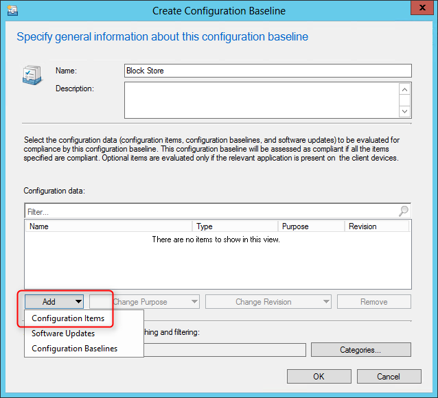 Compliance Settings mobile devices sccm