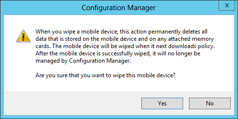 SCCM 2012 mobile device management features