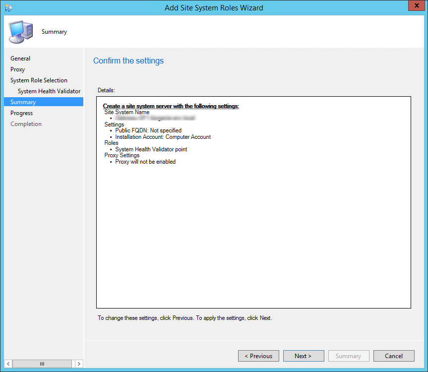 sccm 2012 System Health Validator Point