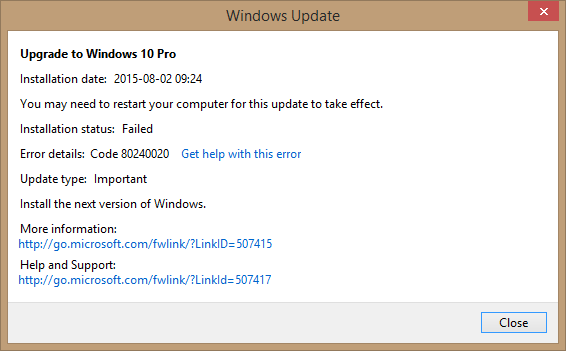 Windows 10 Error Code 80240020