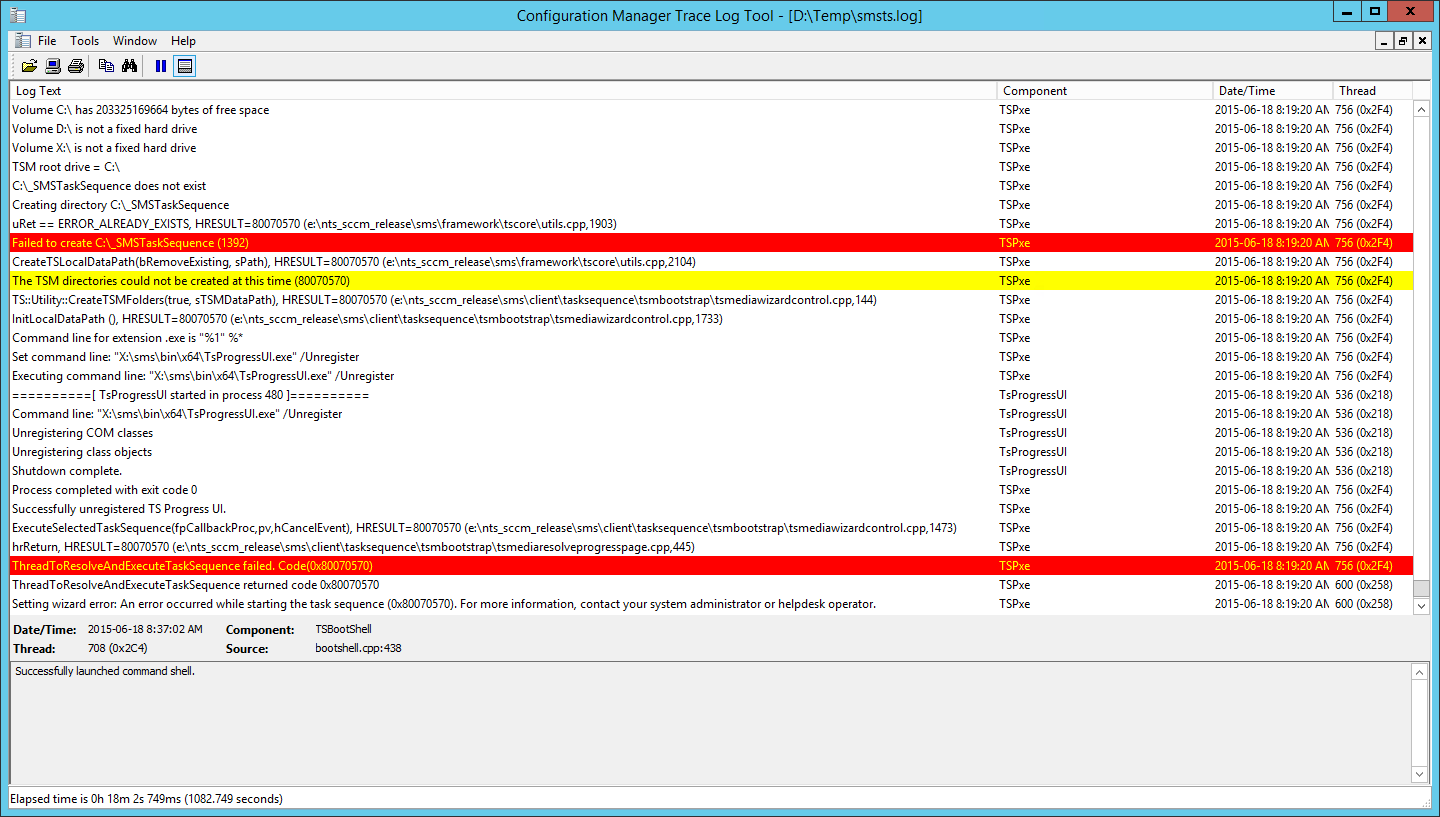 Operating System Deployment SCCM 2012 0x80070570 Error