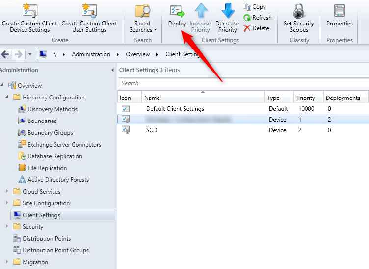 SCCM 2012 client settings