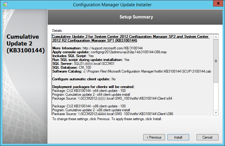 SCCM 2012 R2 SP1 CU2 Installation guide