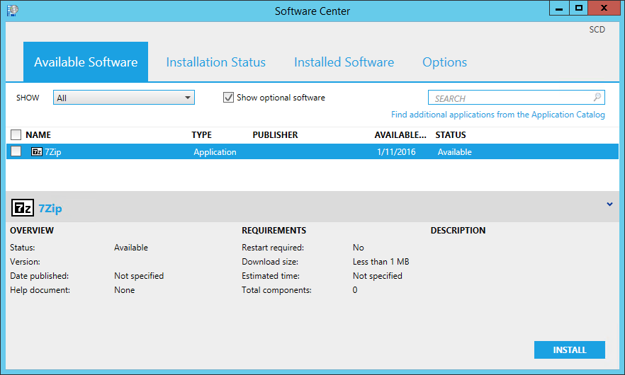 SCCM 1511 Software Center
