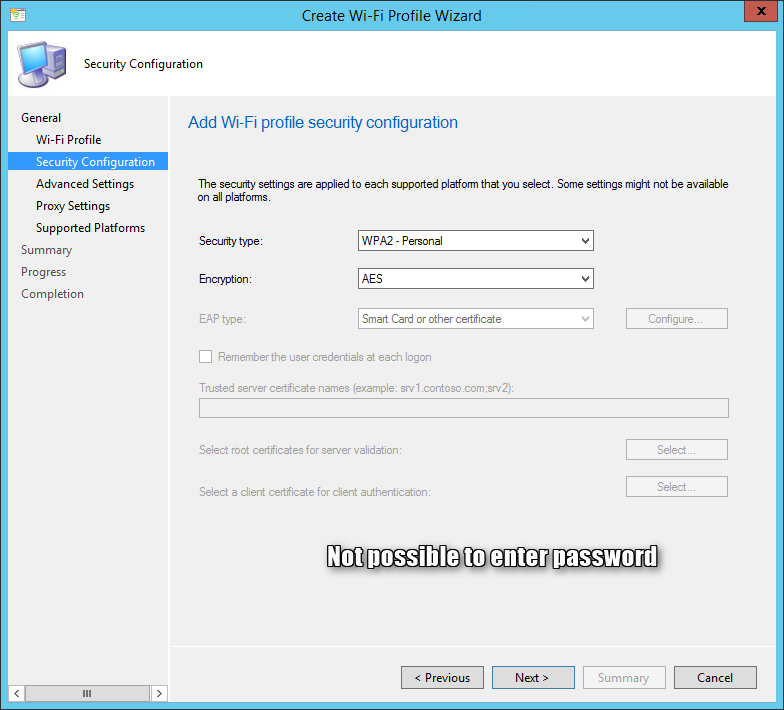Deploy SCCM Wifi Profiles with Password to Windows 10 Devices