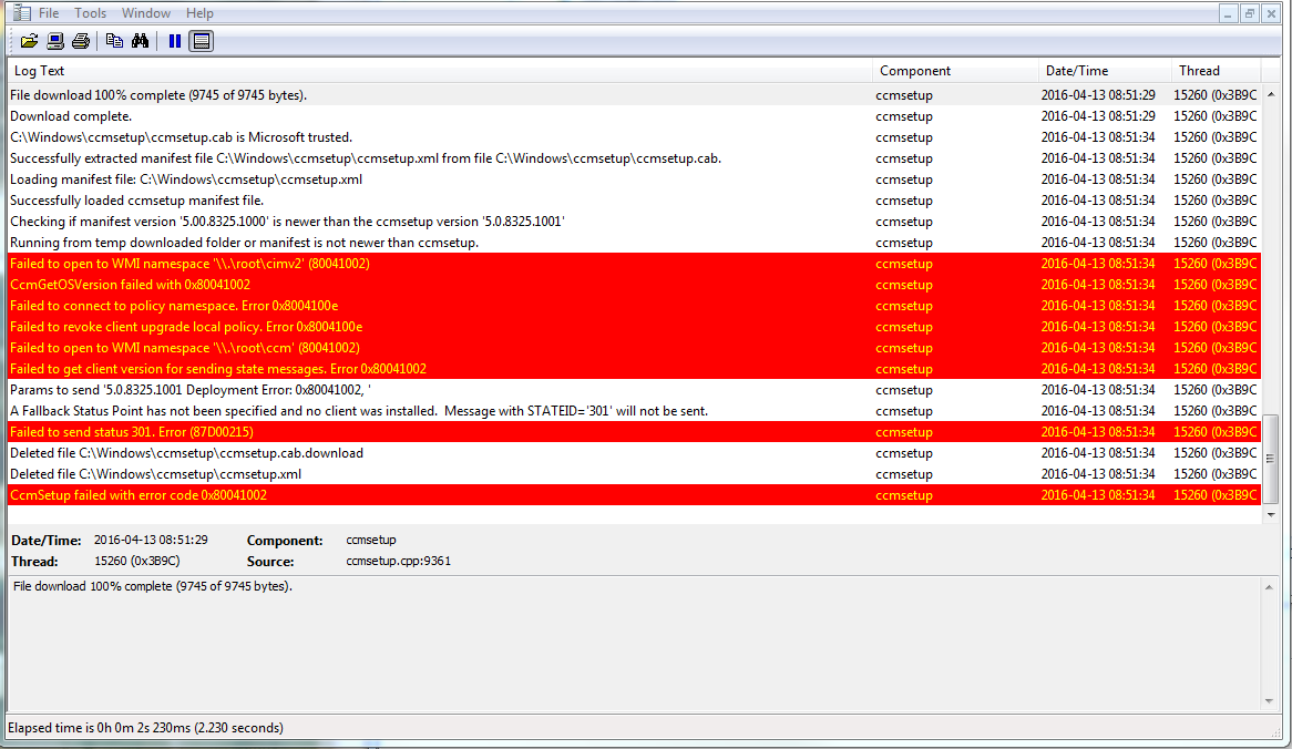 SCCM Client Installation Error Codes
