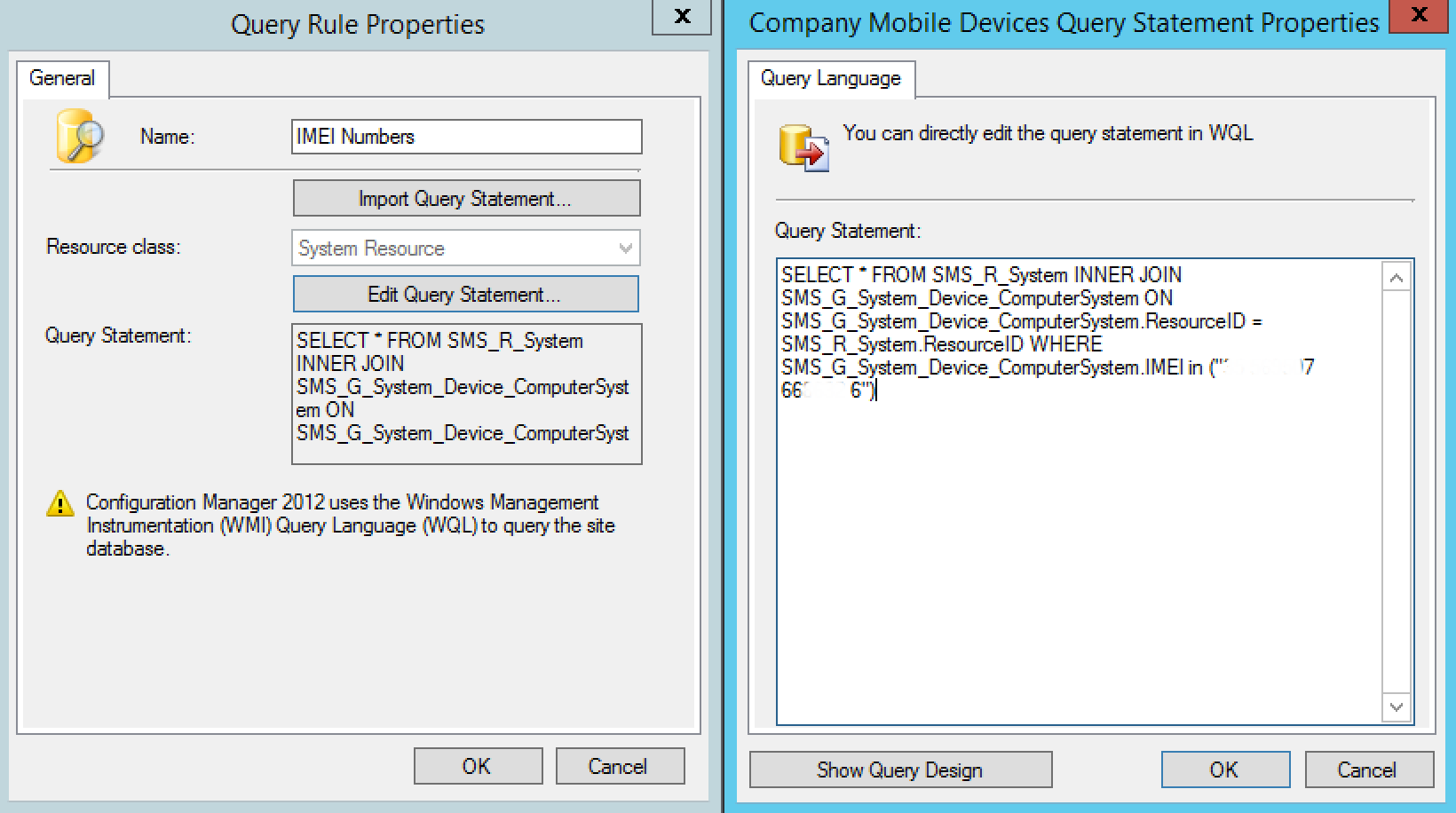 SCCM Intune IMEI Numbers