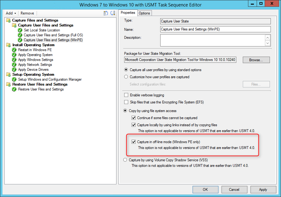 SCCM Windows 10 USMT