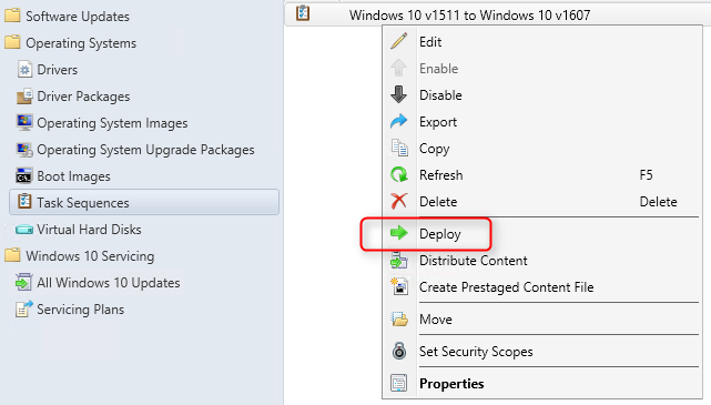 Upgrade Windows 10 using SCCM Task Sequence