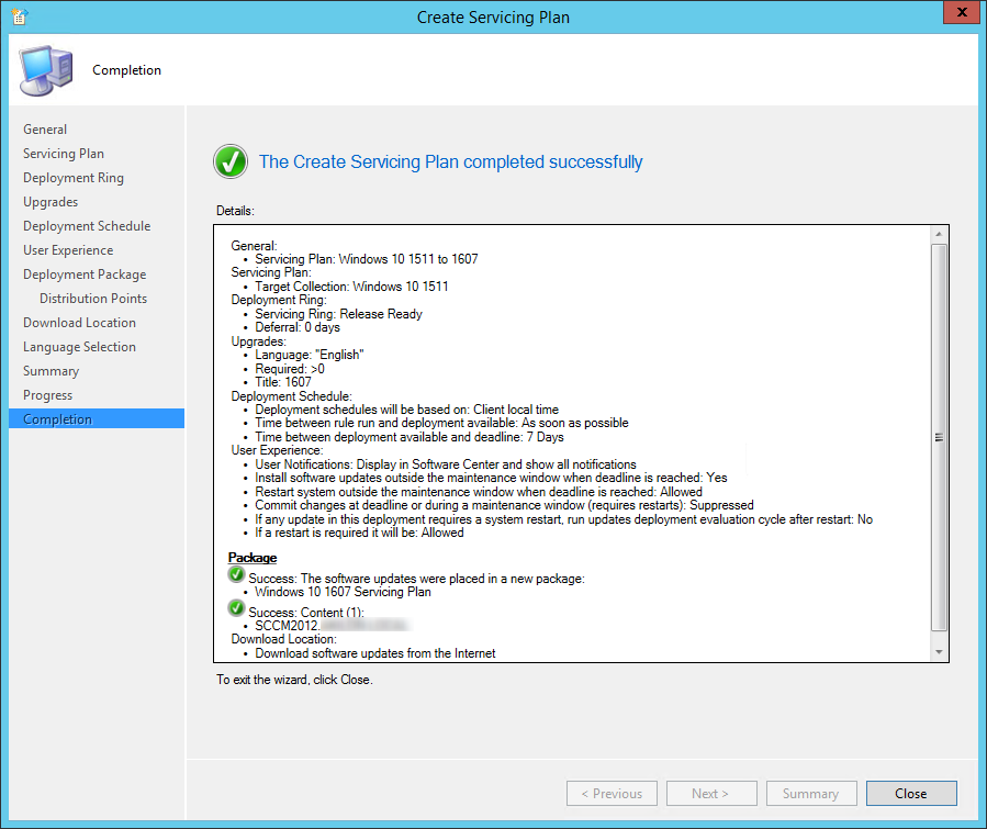 sccm windows 10 servicing plans