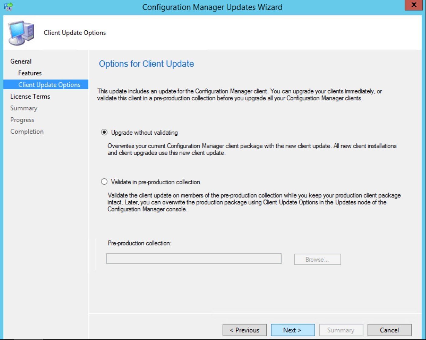SCCM Pre-Production Client Deployment