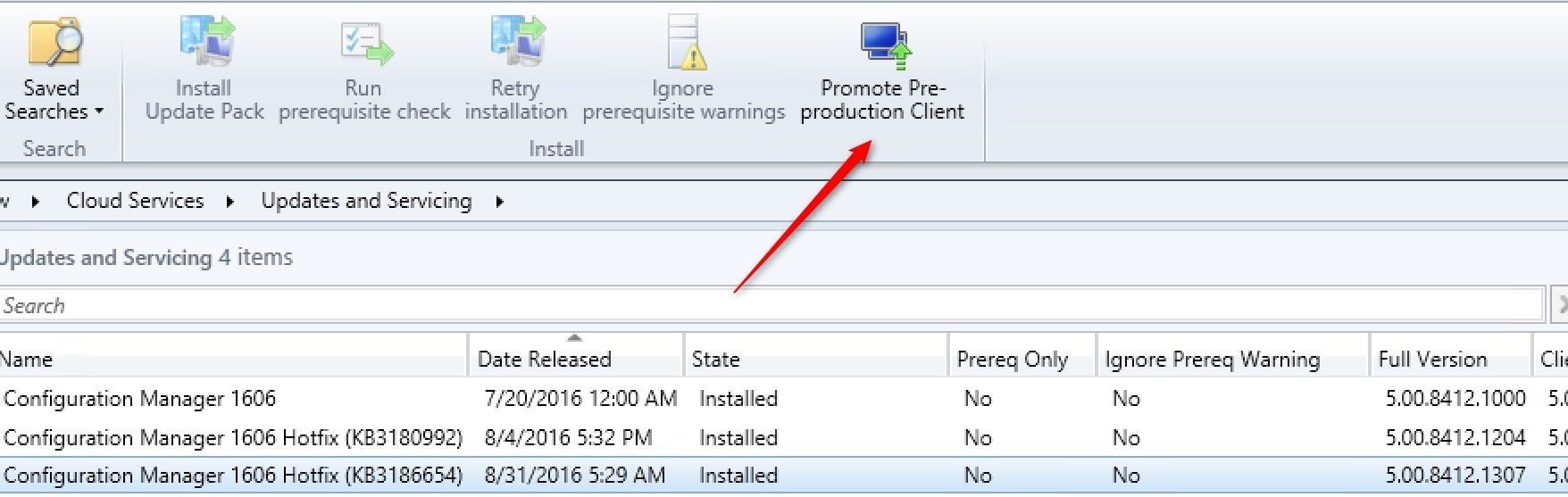 SCCM Pre-production client