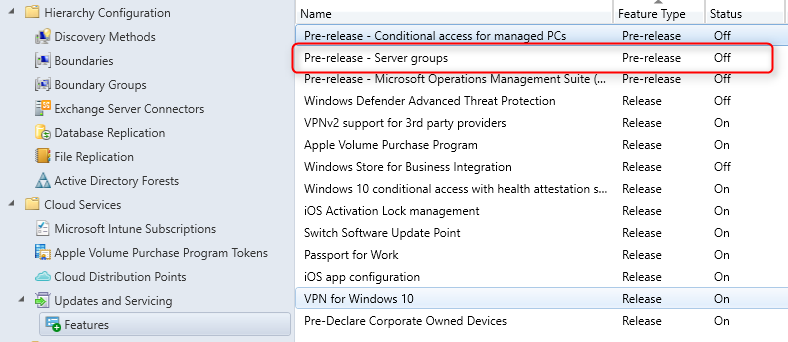 SCCM Server Group