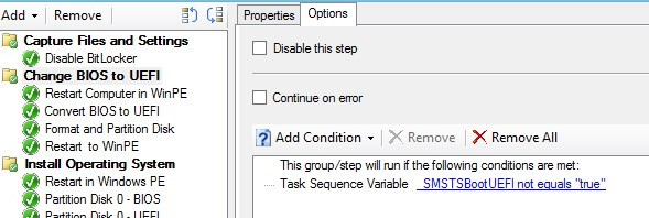 BIOS UEFI Conversion using SCCM Task Sequence