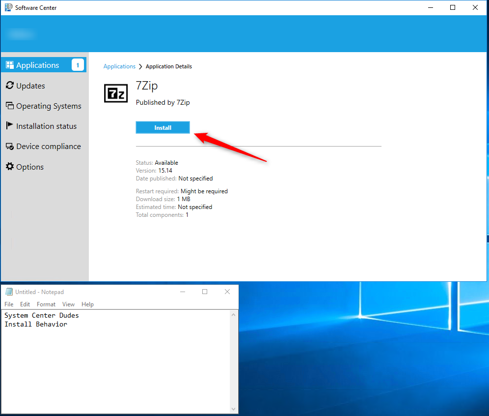 Enable and Configure SCCM Install Behavior for Applications
