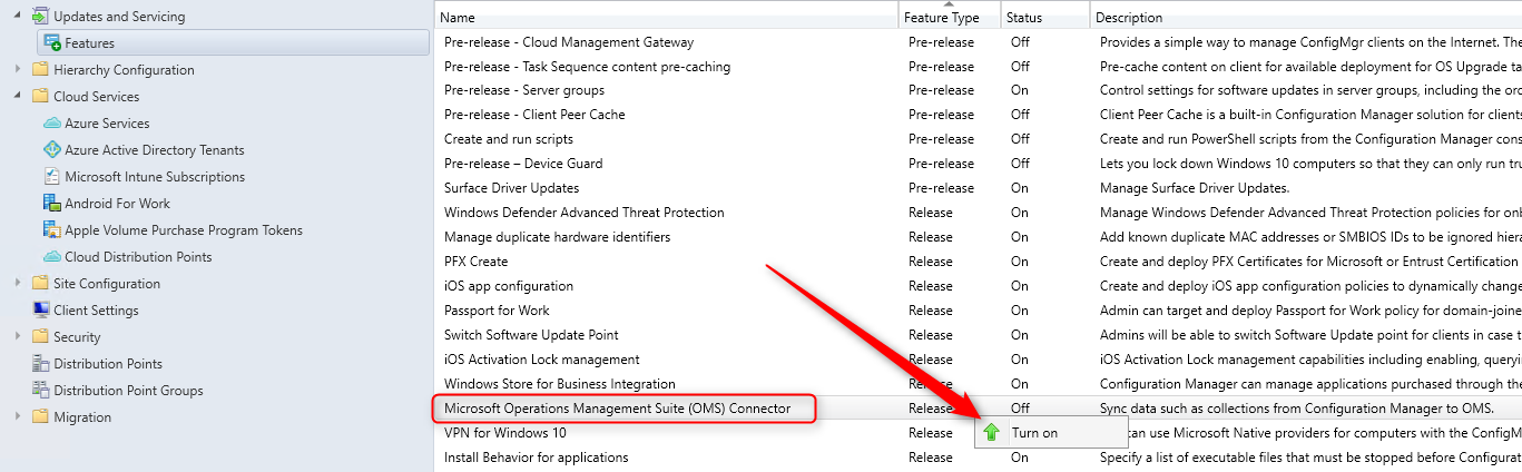 SCCM OMS Connector