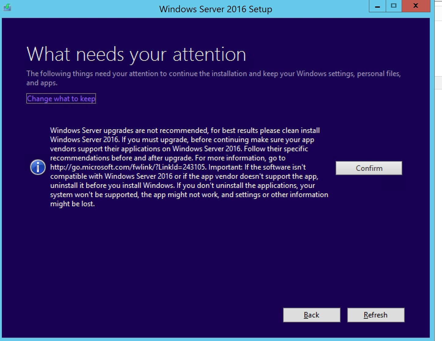 In-place OS upgrade SCCM server