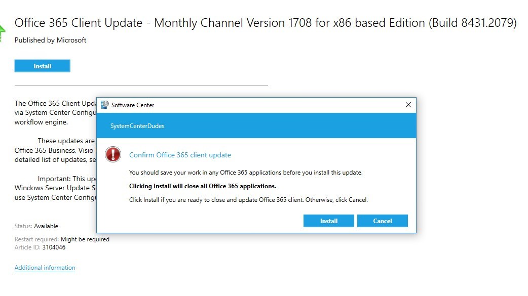 Manage Office 365 Update using SCCM 1706