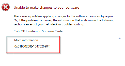 SCCM Error 0xC1900208 deploying Windows 10 1709