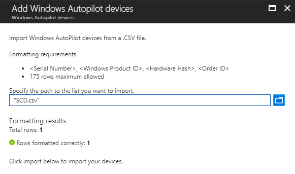 Import Windows Devices for AutoPilot using Microsoft Intune