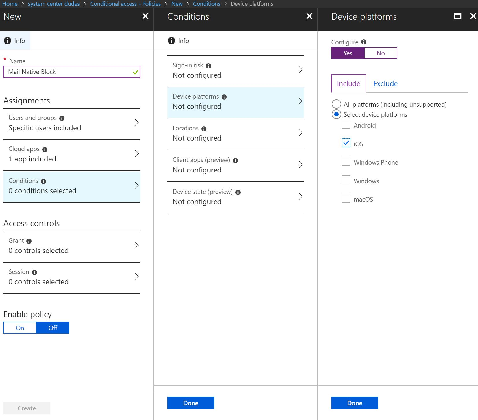 Conditional access blocking Exchange ActiveSync
