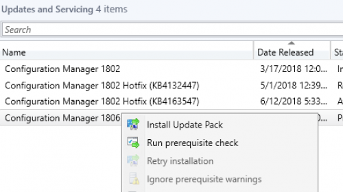 SCCM 1806 Upgrade Guide