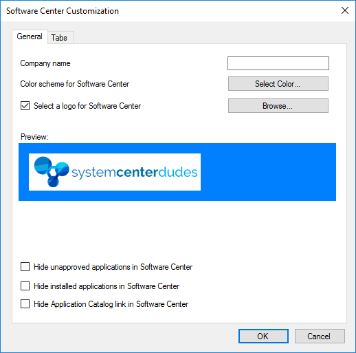 SCCM Software Center Customization to fit your company branding