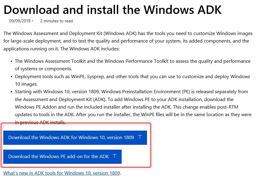 UPDATE WINDOWS ADK 1809