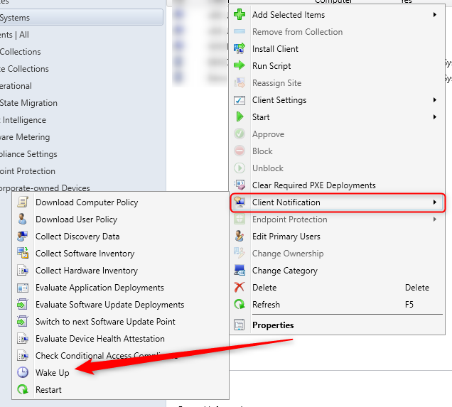 How to enable SCCM Wake on LAN Client Notification (1810+)