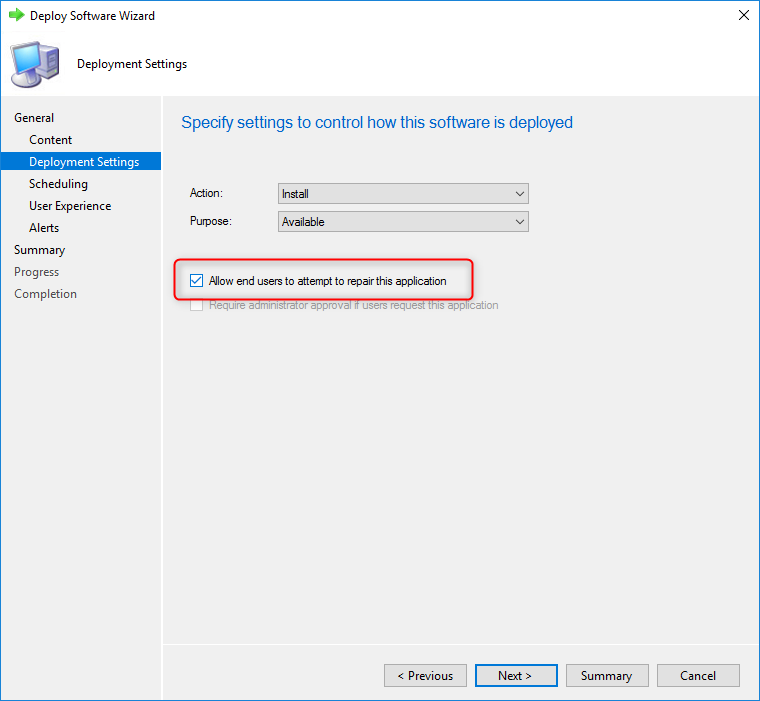 Repair Application from Software Center using SCCM 1810+