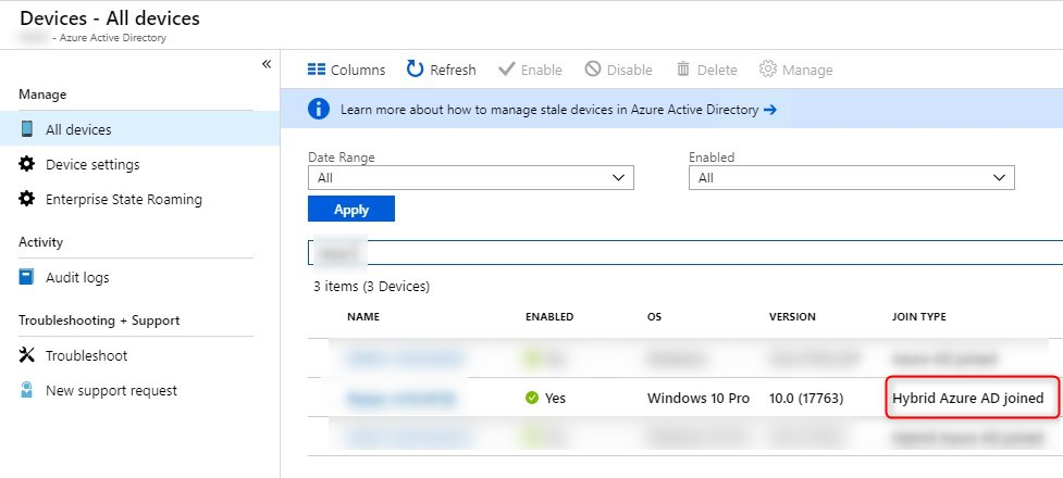 Intune Autopilot Hybrid AD joined