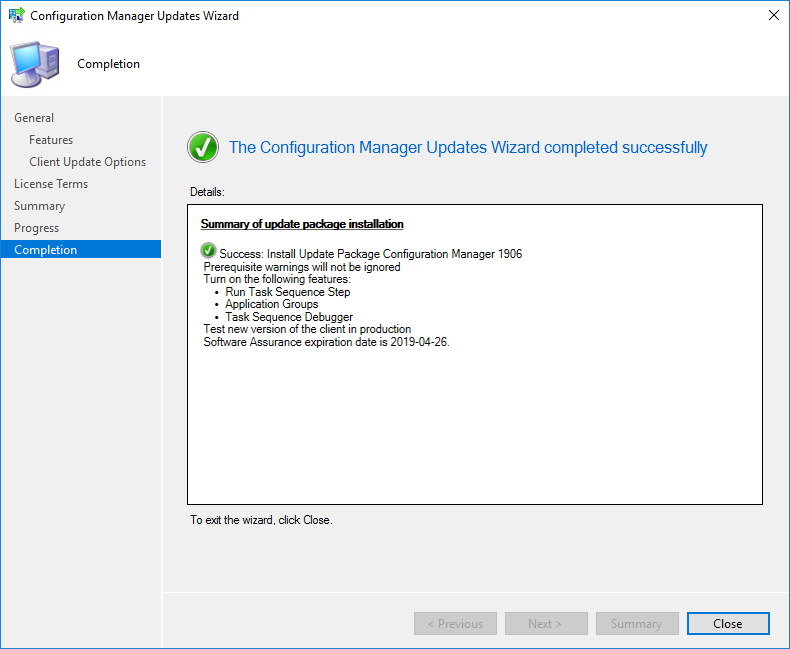 SCCM 1906 Upgrade Guide