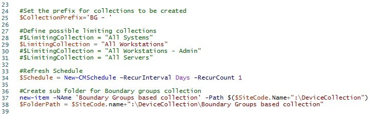 SCCM Powershell collection boundary groups