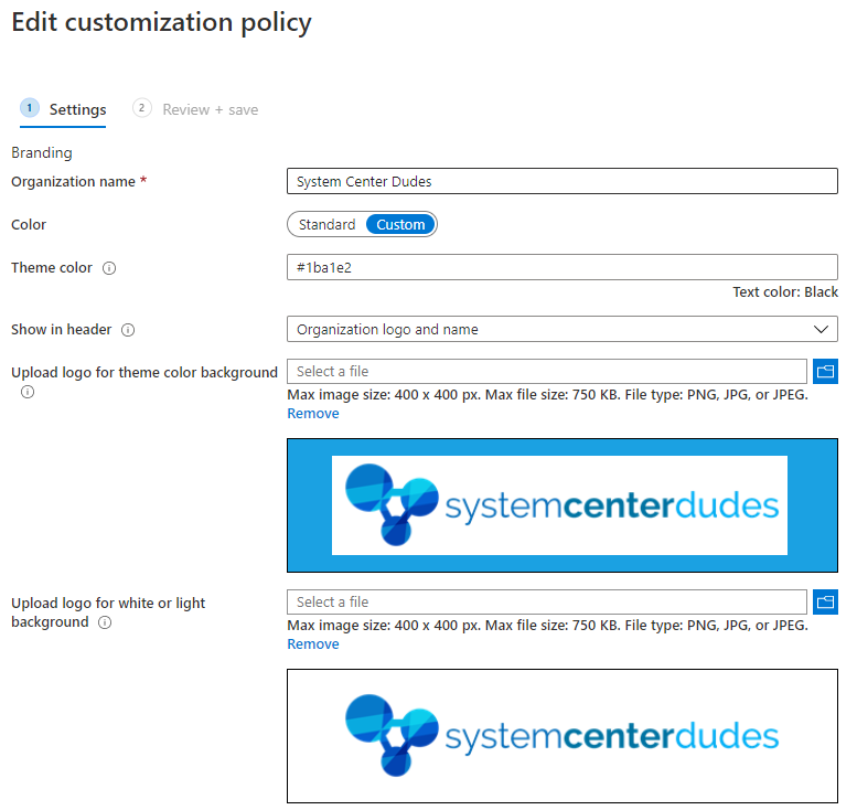 intune company portal customization